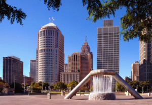 Image of a plaza in Detroit