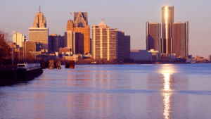 Image of the Detroit skyline from Downriver.
