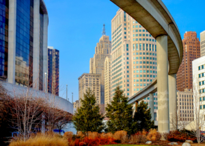 Image of the People Mover in Detroit, MI